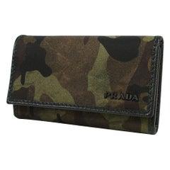 PRADA 6-strands camouflage Camouflage pattern unisex key case 2M0025 green