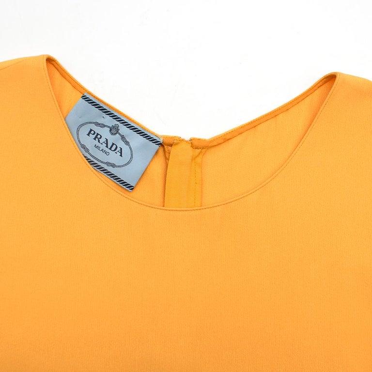 Prada Amber Yellow Ruffled Sleeveless Shift Dress XXS IT 38 For Sale 6