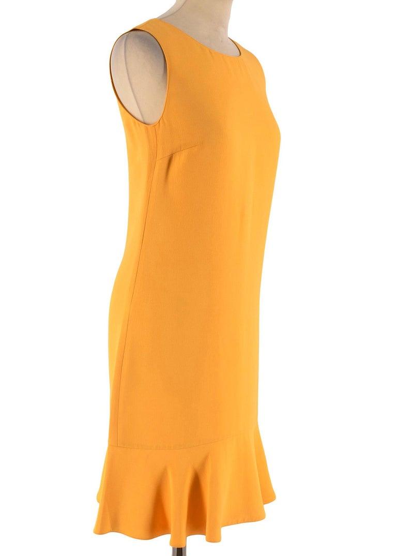 Prada Yellow Ruffled Sleeveless Shift Dress RRP £995  - Made in Italy  - Ruffled hem - 100% Viscose  - Concealed hook and zip fastening at the back - Prada size 38 equals UK 6 - Deep amber Yellow colour