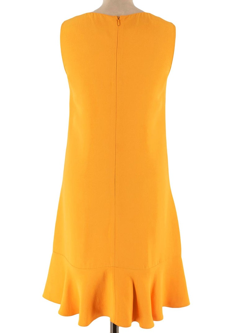 Prada Amber Yellow Ruffled Sleeveless Shift Dress XXS IT 38 In Excellent Condition For Sale In London, GB