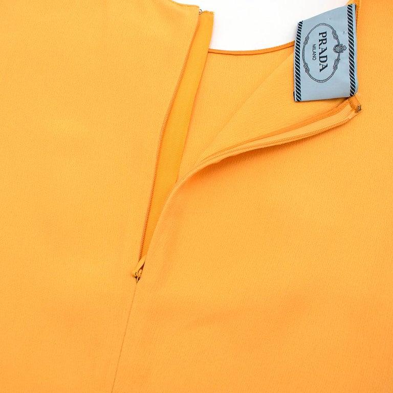 Women's Prada Amber Yellow Ruffled Sleeveless Shift Dress XXS IT 38 For Sale