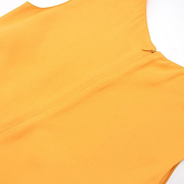 Prada Amber Yellow Ruffled Sleeveless Shift Dress XXS IT 38 For Sale 2