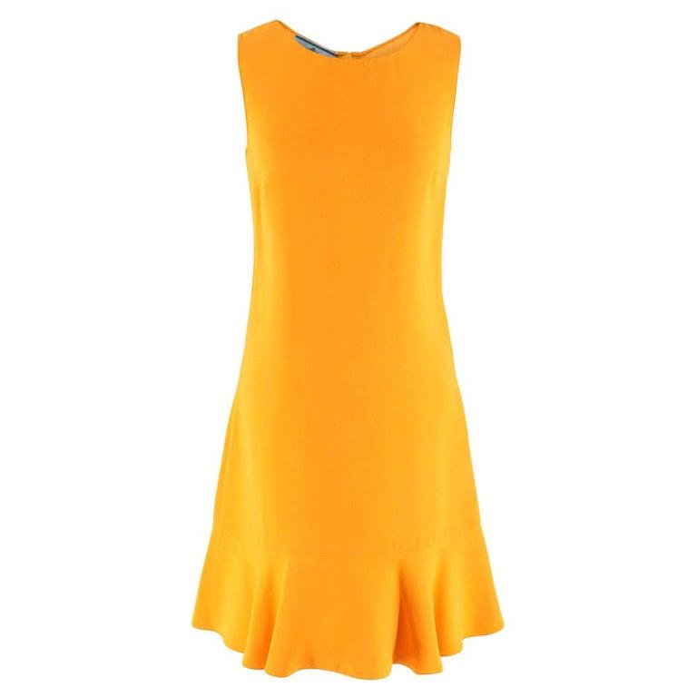 Prada Amber Yellow Ruffled Sleeveless Shift Dress XXS IT 38 For Sale