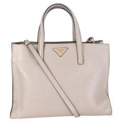 PRADA Argilla grey Saffiano leather SOFT Tote Shoulder Bag