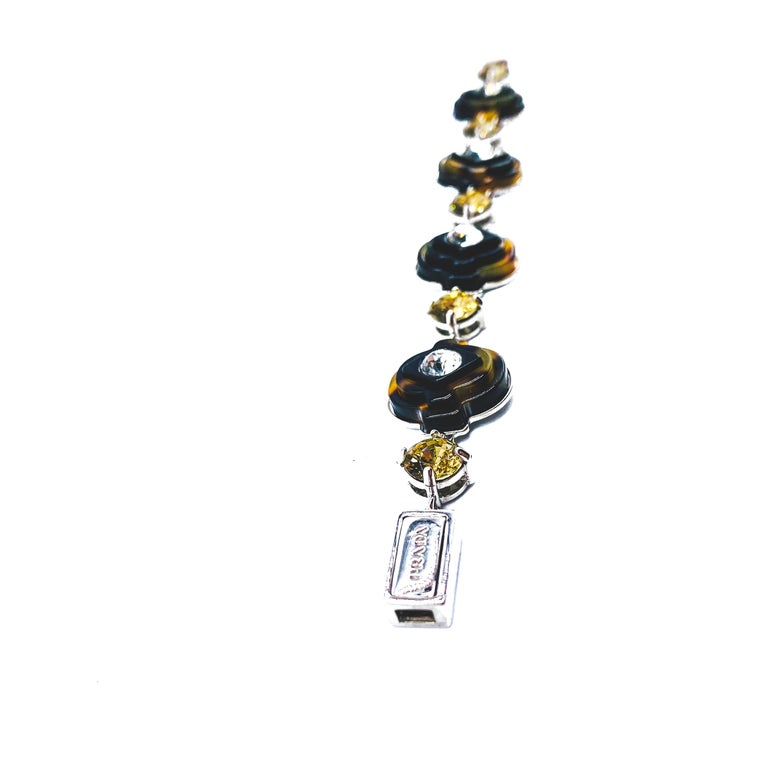 Prada Art Deco Inspired Bracelet  Detail -Made in Italy in the 2000s -Expertly crafted from high quality silver finished metal -Faux tortoiseshell Art Deco inspired links set with crystals  Size & Fit -Length - approx 6.5 inches -Width - approx 6/8
