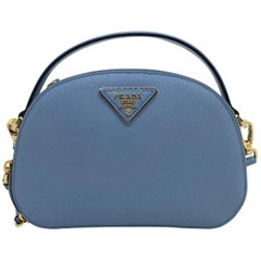 Prada Astral Blue Saffiano Leather Odette Top Handle Cross-body Bag