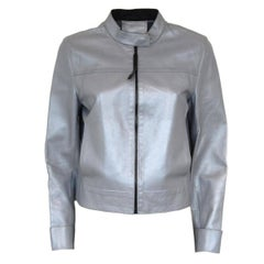 Prada Azure Perlage Leather Jacket
