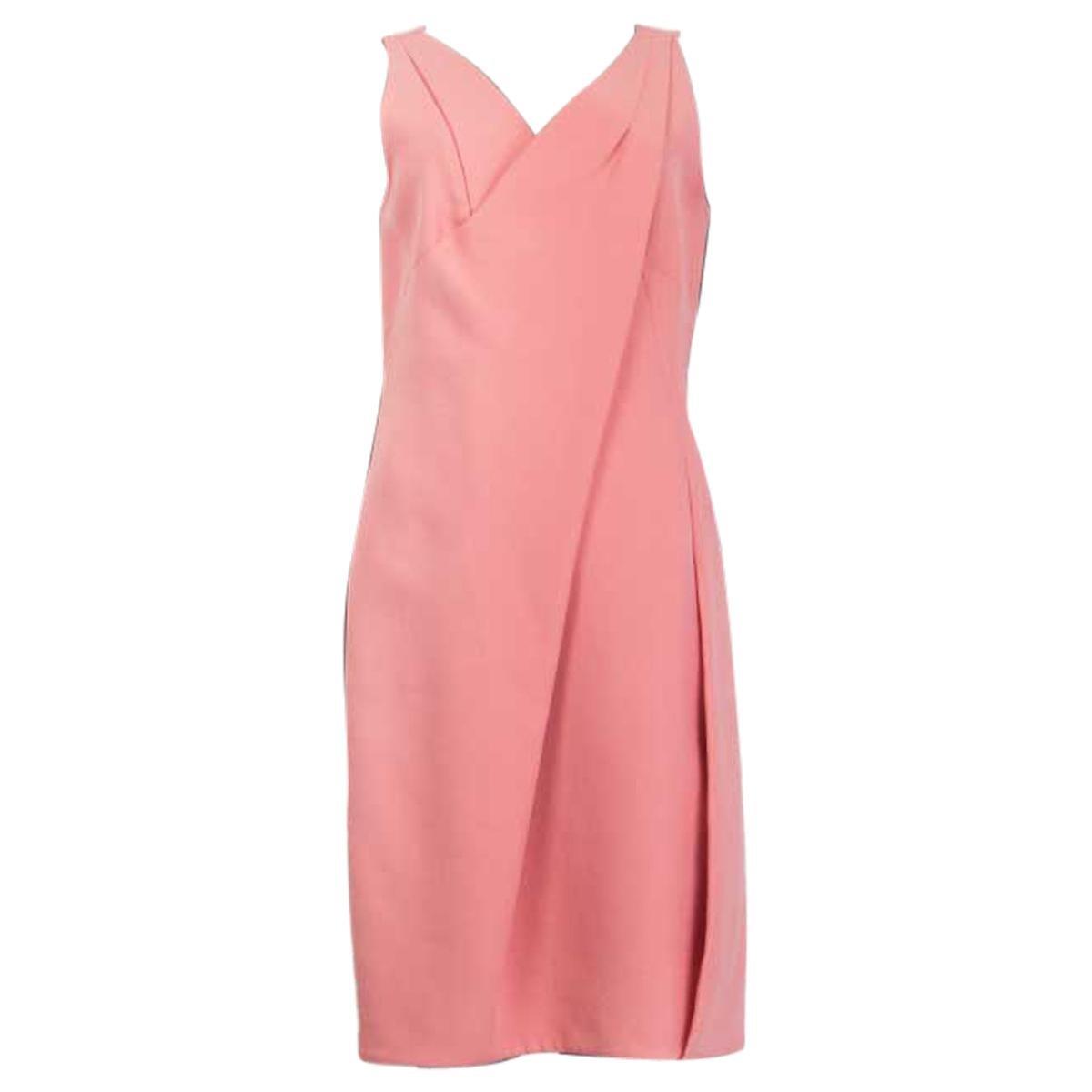 PRADA baby pink cotton DRAPED Sleeveless Shift Dress 44 L
