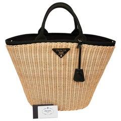 PRADA Bag in Natural Wicker and Black Cotton Canvas