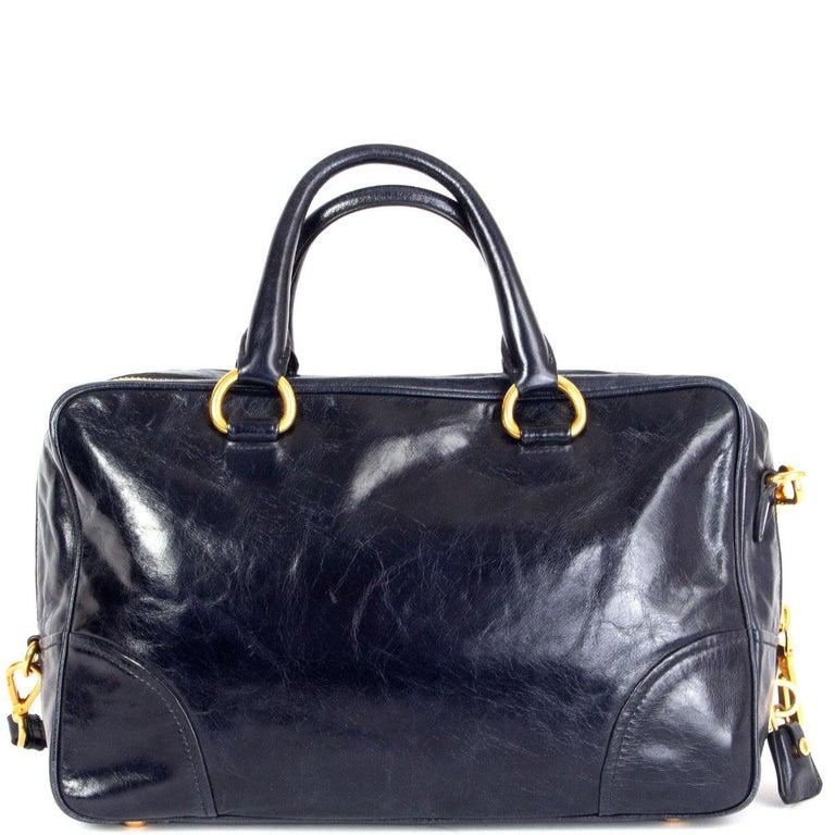 Black PRADA Baltico blue Vitello Shine leather BAULETTO MEDIUM BL0821 Satchel Bag For Sale