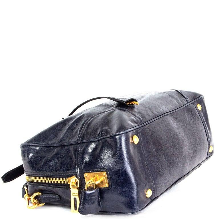 PRADA Baltico blue Vitello Shine leather BAULETTO MEDIUM BL0821 Satchel Bag In Excellent Condition For Sale In Zürich, CH
