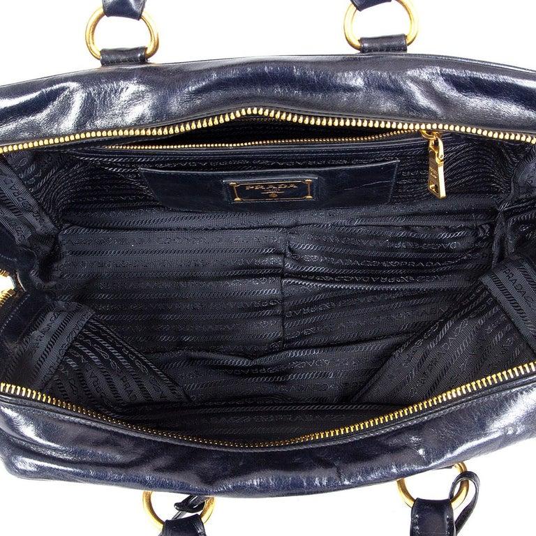 Women's PRADA Baltico blue Vitello Shine leather BAULETTO MEDIUM BL0821 Satchel Bag For Sale