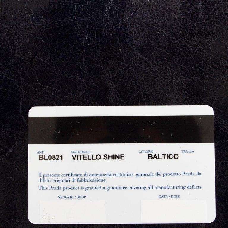 PRADA Baltico blue Vitello Shine leather BAULETTO MEDIUM BL0821 Satchel Bag For Sale 1