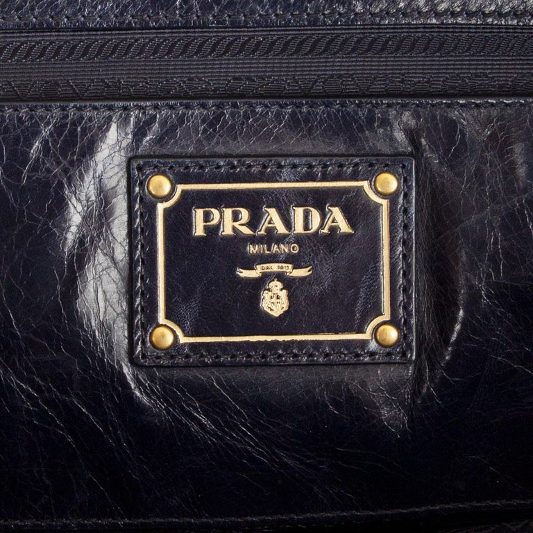 PRADA Baltico blue Vitello Shine leather BAULETTO MEDIUM BL0821 Satchel Bag For Sale 2