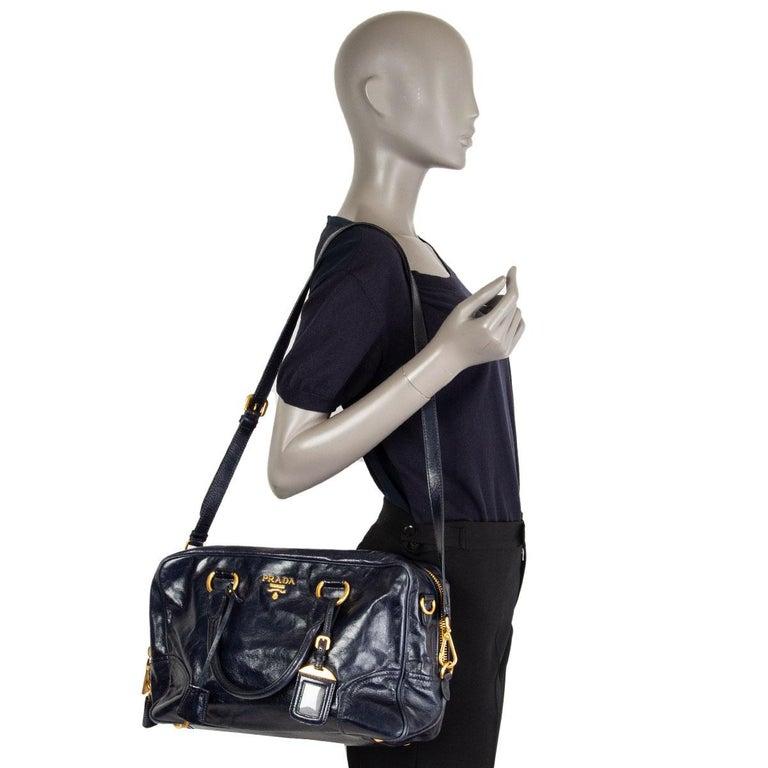 PRADA Baltico blue Vitello Shine leather BAULETTO MEDIUM BL0821 Satchel Bag For Sale 3