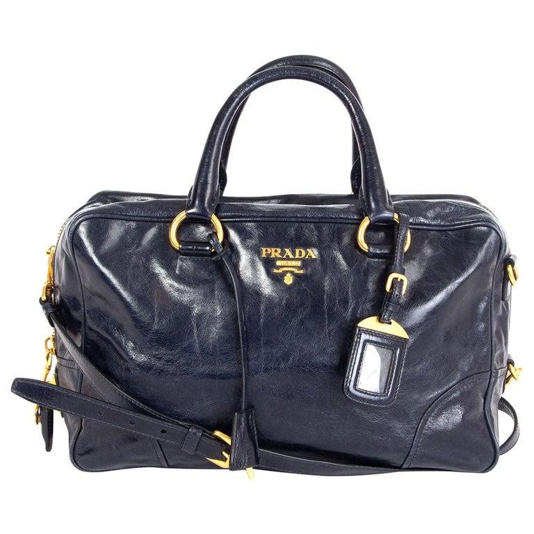 PRADA Baltico blue Vitello Shine leather BAULETTO MEDIUM BL0821 Satchel Bag For Sale