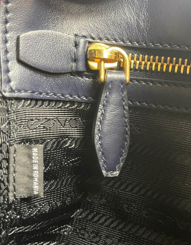 Prada Baltico Navy Blue Saffiano Leather Small Top Handle Crossbody Bag 1BA113 For Sale 5