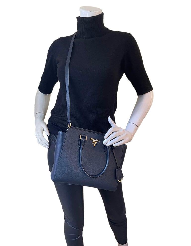Prada Baltico Saffiano and Soft Calfskin Leather Small Top Handle Crossbody Bag 1BA113  Made In: Romania Color: Navy,