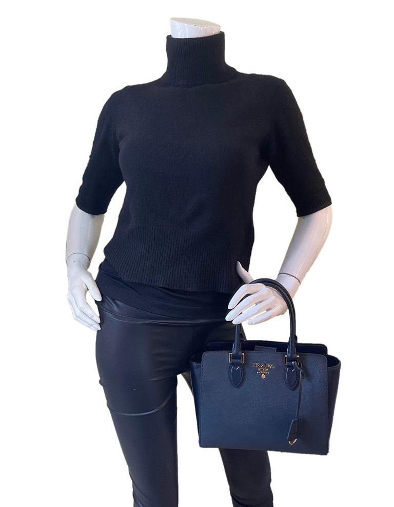 Black Prada Baltico Navy Blue Saffiano Leather Small Top Handle Crossbody Bag 1BA113 For Sale