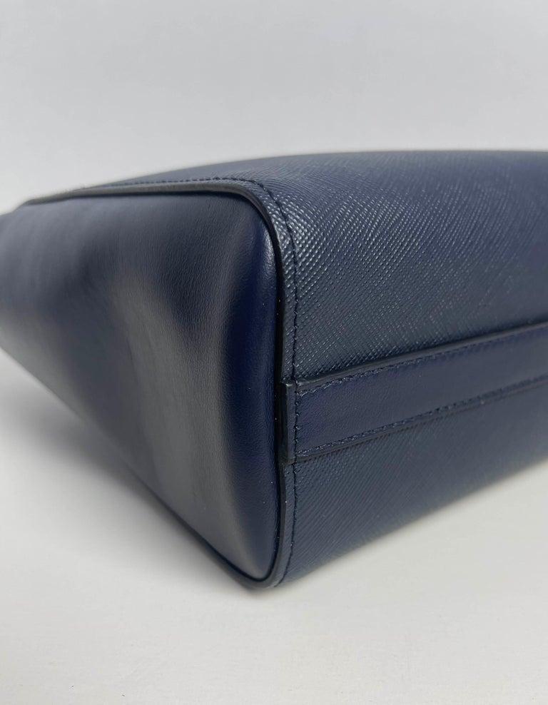 Prada Baltico Navy Blue Saffiano Leather Small Top Handle Crossbody Bag 1BA113 For Sale 1
