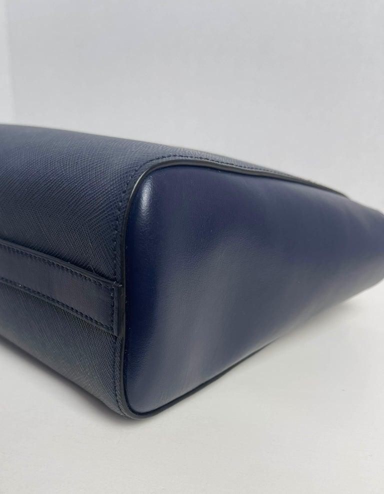 Prada Baltico Navy Blue Saffiano Leather Small Top Handle Crossbody Bag 1BA113 For Sale 2