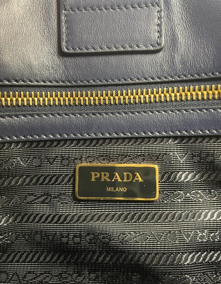 Prada Baltico Navy Blue Saffiano Leather Small Top Handle Crossbody Bag 1BA113 For Sale 4