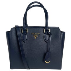 Prada Baltico Navy Blue Saffiano Leather Small Top Handle Crossbody Bag 1BA113