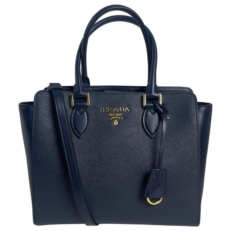 Prada Baltico Navy Blue Saffiano Leather Small Top Handle Crossbody Bag 1BA113 For Sale