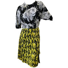 Prada Banana and Dahlia Print Dress with Pleated Accents A/W 2018