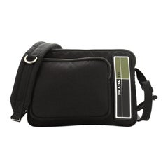 Prada Logo Patch Zip Messenger Bag Tessuto Medium