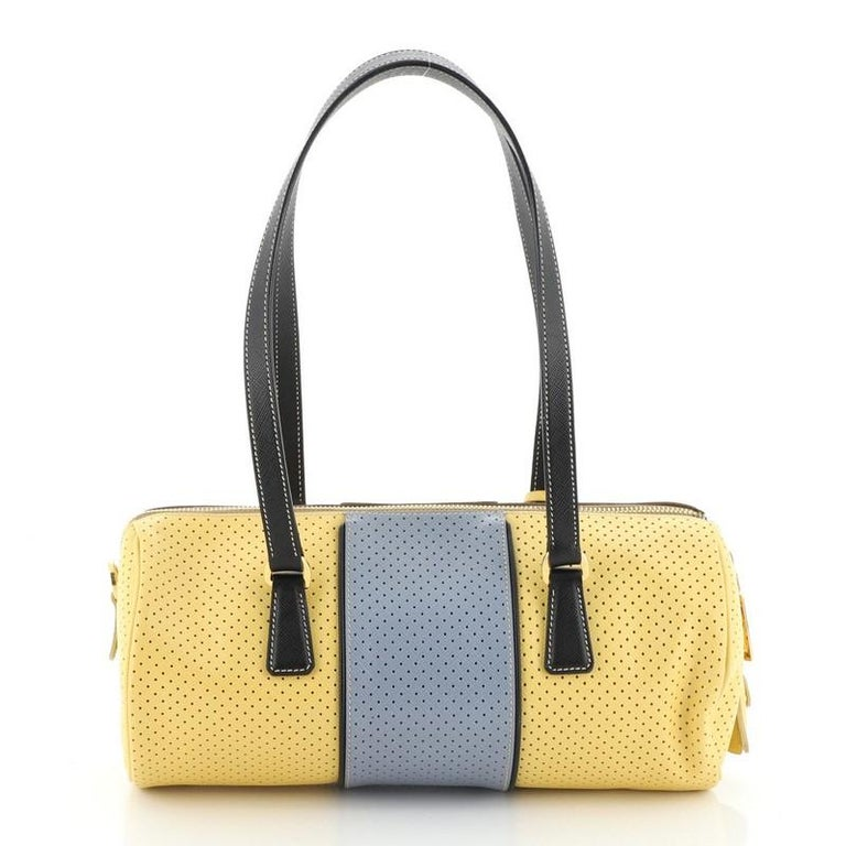 Prada  Barrel Bag Perforated Saffiano Leather Medium In Good Condition For Sale In New York, NY