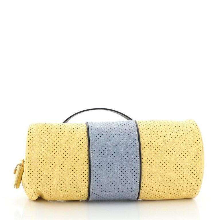 Women's or Men's Prada  Barrel Bag Perforated Saffiano Leather Medium For Sale