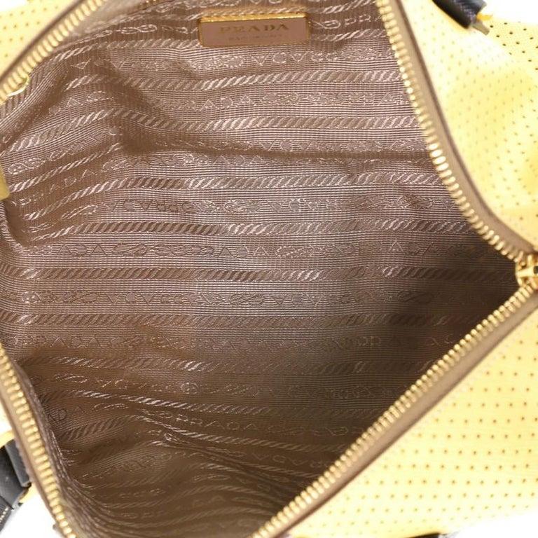 Prada  Barrel Bag Perforated Saffiano Leather Medium For Sale 1