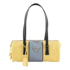 Prada  Barrel Bag Perforated Saffiano Leather Medium
