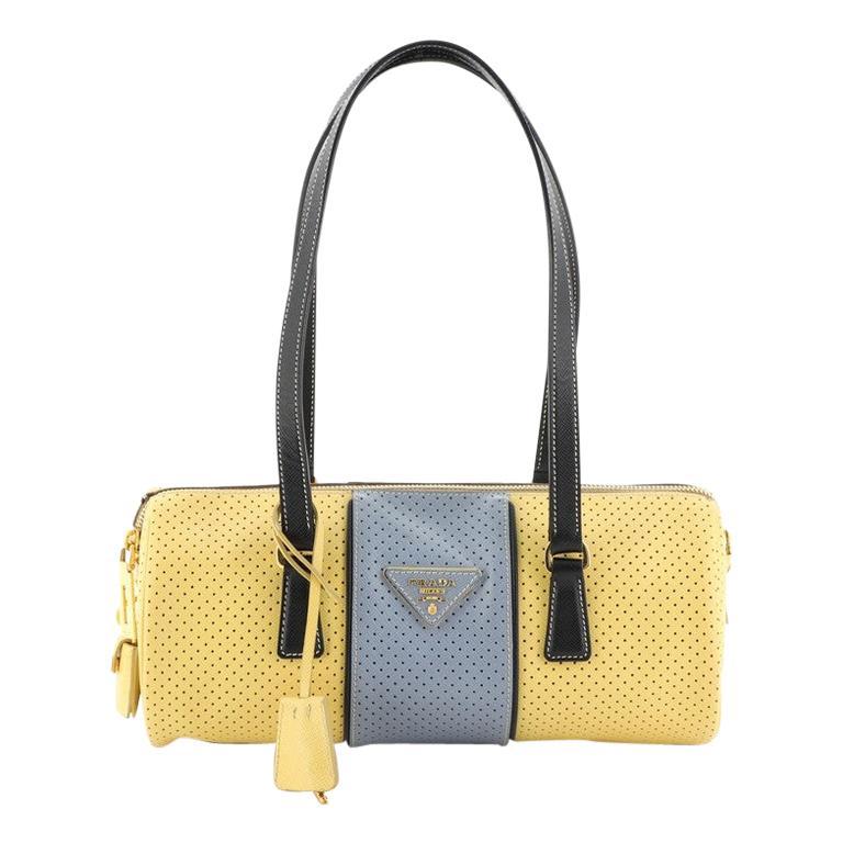 Prada  Barrel Bag Perforated Saffiano Leather Medium For Sale