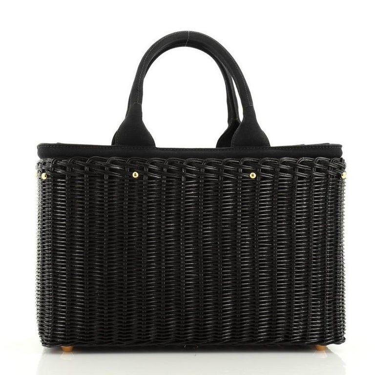 Prada Basket Bag Wicker with Canapa Large In Good Condition For Sale In New York, NY