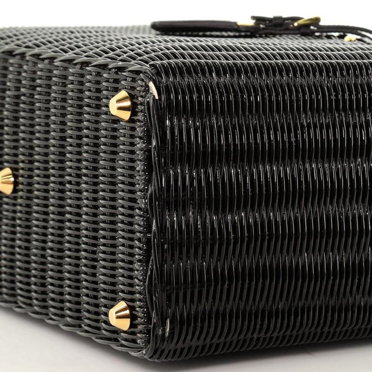 Prada Basket Bag Wicker with Canapa Large For Sale 3