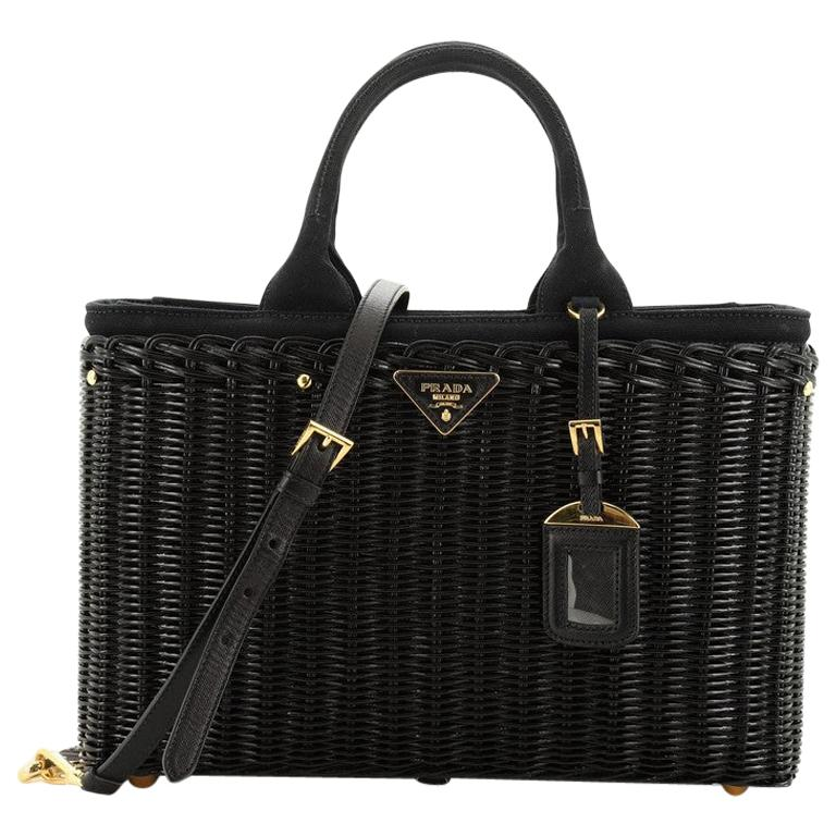 Prada Basket Bag Wicker with Canapa Large For Sale