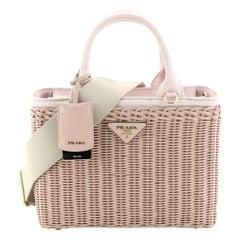 Prada Basket Bag Wicker with Canapa Small