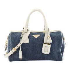 Prada Bauletto Bag Denim with Saffiano Leather Medium
