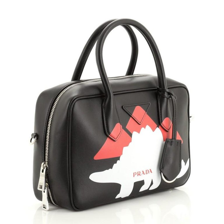Prada Bauletto Bag Printed City Calf Medium In Good Condition For Sale In New York, NY