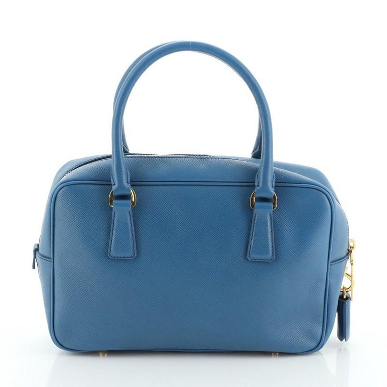 Prada Bauletto Bag Saffiano Leather Small In Good Condition For Sale In New York, NY