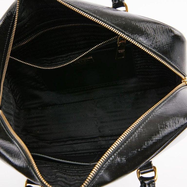 PRADA Baulleto Bag In Black Patent Saffiano Leather For Sale 6