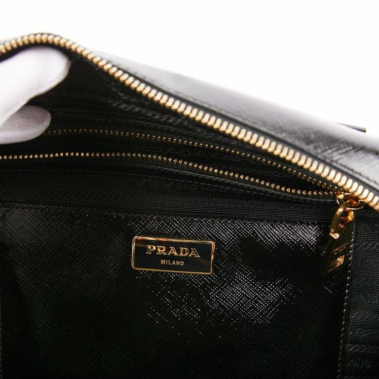 PRADA Baulleto Bag In Black Patent Saffiano Leather For Sale 7