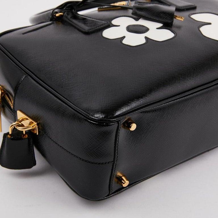 Women's PRADA Baulleto Bag In Black Patent Saffiano Leather For Sale