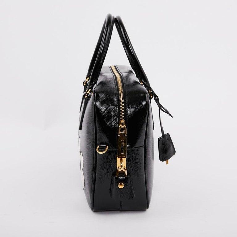 PRADA Baulleto Bag In Black Patent Saffiano Leather For Sale 1