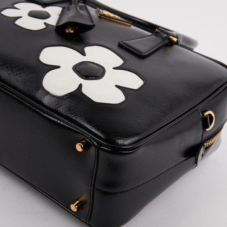 PRADA Baulleto Bag In Black Patent Saffiano Leather For Sale 2
