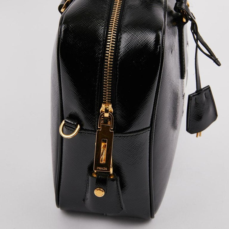 PRADA Baulleto Bag In Black Patent Saffiano Leather For Sale 3