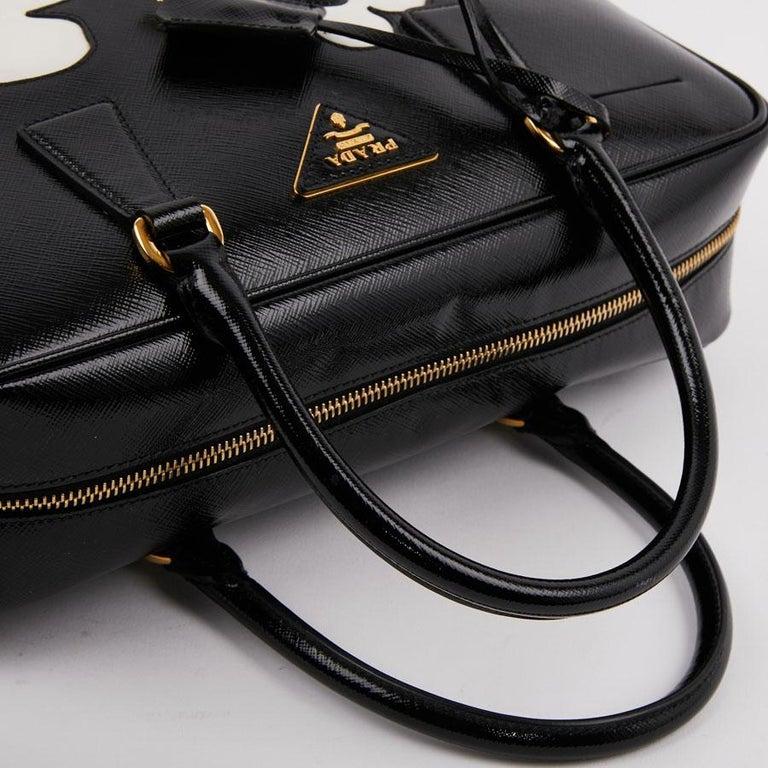 PRADA Baulleto Bag In Black Patent Saffiano Leather For Sale 4