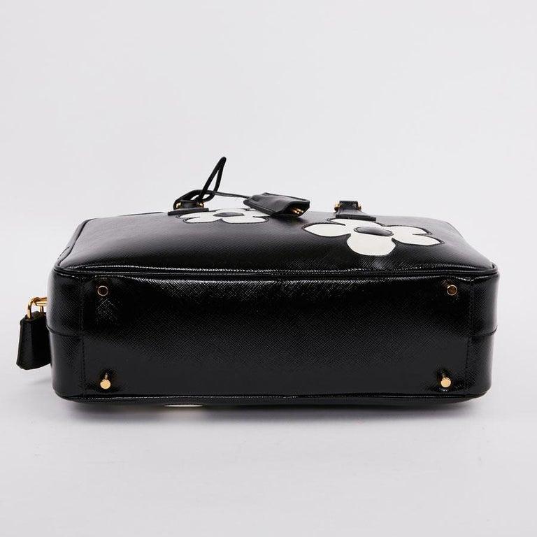 PRADA Baulleto Bag In Black Patent Saffiano Leather For Sale 5